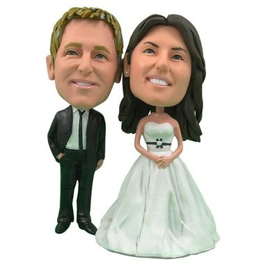 Custom Made Personalized Wedding Cake Topper Of A Couple With Black Ribbon