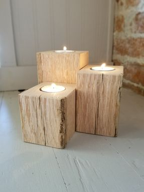 Custom Made Reclaimed Oak Candle Holder/Centerpiece Set Of 3