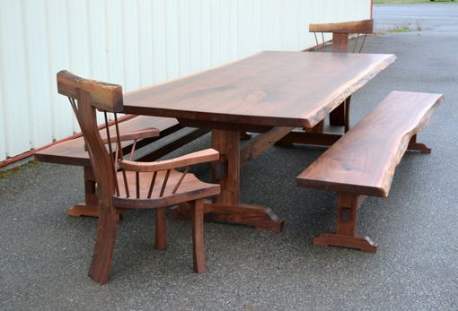 Custom Made Ten Foot Live Edge Dining Table With Armchairs And Benches