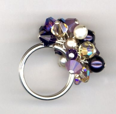 Custom Made Swarovski Crystal Sterling Silver Cluster Cha-Cha Ring