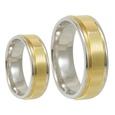 Custom Made 14k Two Tone Wedding Band, Comfort Fit Promise Ring