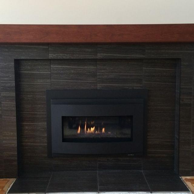 Cherry Modern Beam Fireplace Mantel