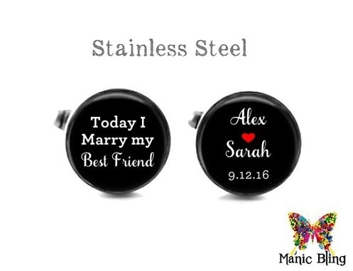 Custom Made Groom Cufflinks - Glass And Stainless Steel