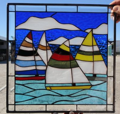Custom Made Colorful Sailboat Race Stained Glass Window