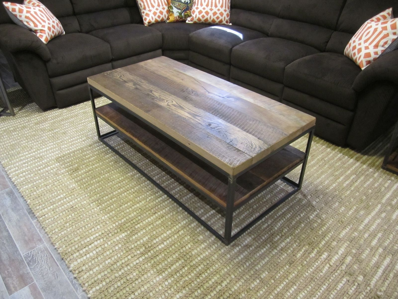 Buy a Custom Made Reclaimed Hardwood Coffee Table In Steel Box