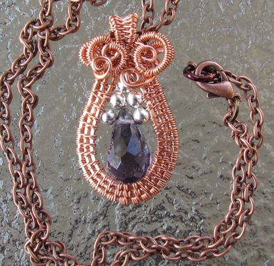 Custom Made Copper Woven Amethyst Teardrop Pendant