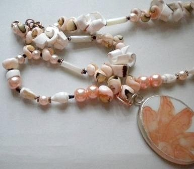 Custom Made Shell, Pearls And Special Pendant Necklace
