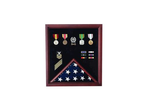 Custom Made Medal And Flag Display Case - Cherry Medal And Flag Display