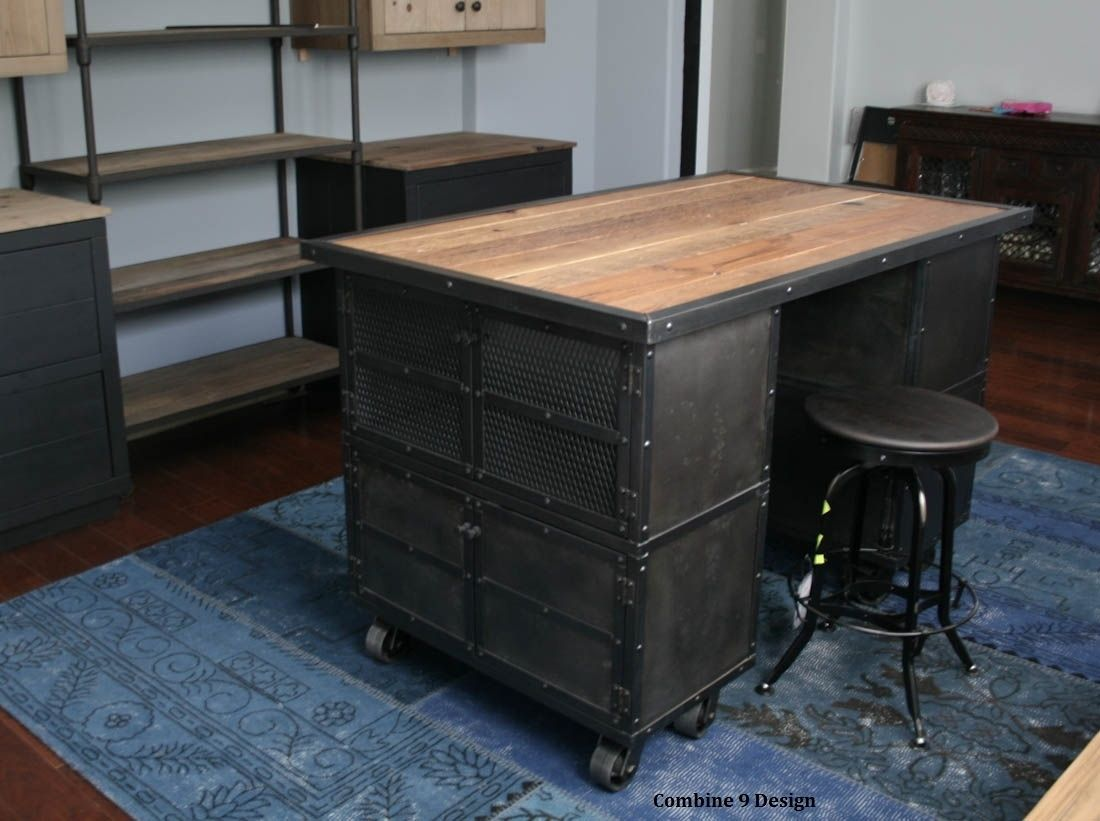 Industrial Kitchen Furniture Buy A Hand Made Kitchen Island Work Station Vintage Industrial
