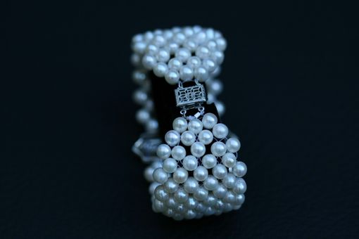 Custom Made Hand Woven Pearl Cuff Bracelet With Art Deco Filigree Centerpiece. Perfect For Bridal Jewelery