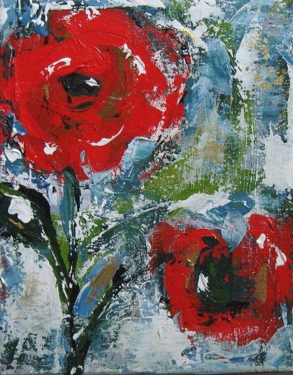 custom still live red acrylic abstract flower painting original art