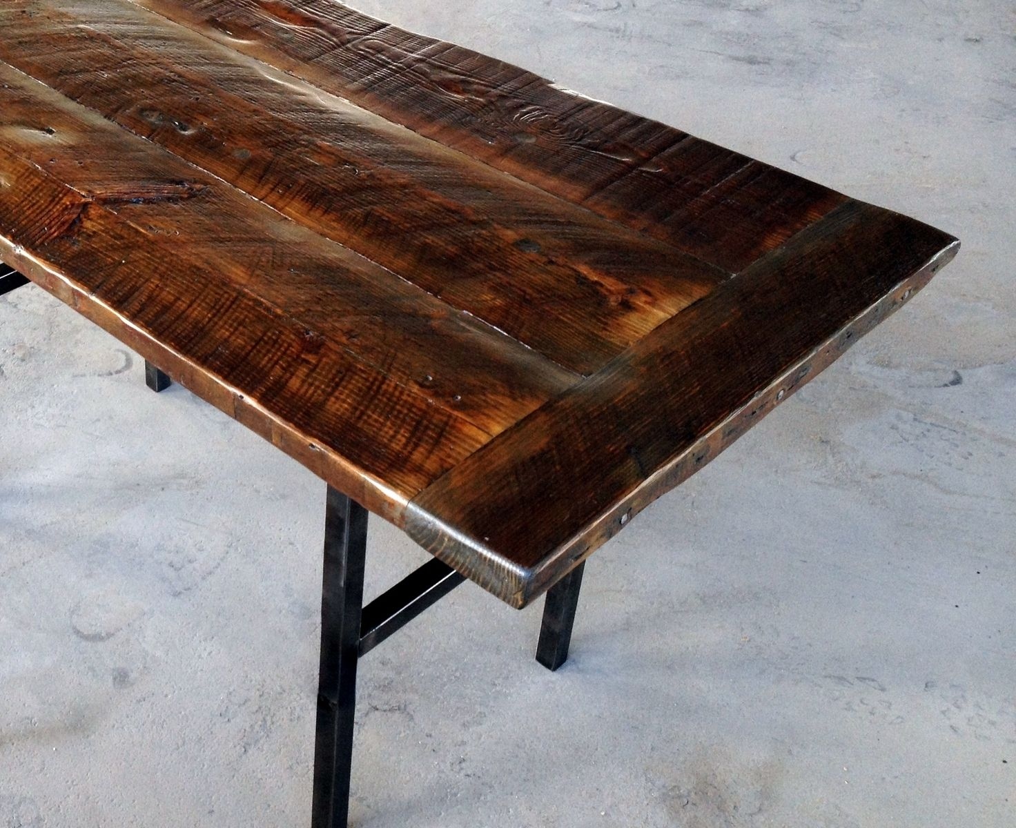 Hand crafted reclaimed wood kitchen table with steel legs for Reclaimed wood table designs