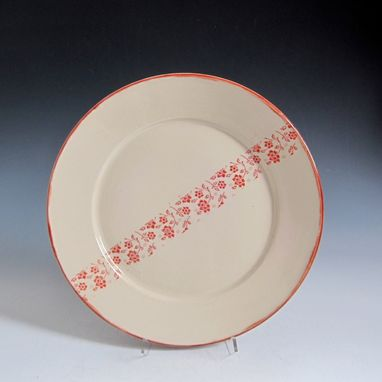 Custom Made Dinner Plate With A Stripe Of Flowers - Choose Your Glaze Color