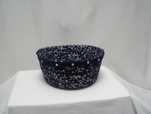 Custom Made Fabric Bowl - Coiled - Clothesline Handwrapped In Fabric  - Medium Round - Navy/White