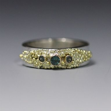 Custom Made 3 Stone Textured Ring 14k (Genuine Alexandrite) Made To Order
