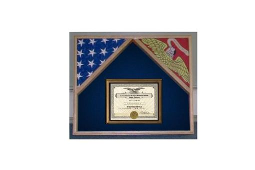 Custom Made Military Flag Case For 2 Flags And Certificate Display Case
