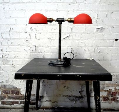 Hand Made Industrial Style Table Lamp Inspired By 1930 S Industrial Factory Lighting By Reborn