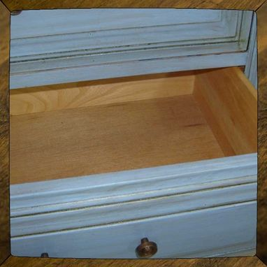 Custom Made Periwinkle Bed Side Table End Table With 2 Drawers
