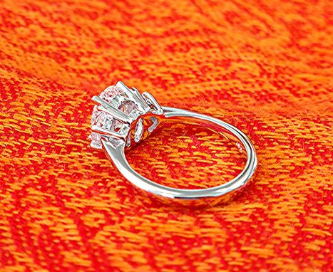 Custom Made 2 Carat Three Stone Diamond Engagement Ring.