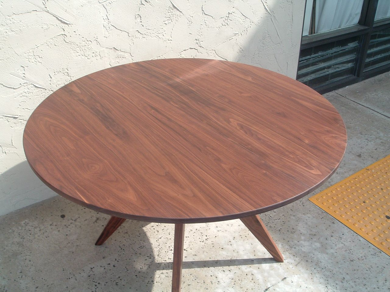 handmade 48 inch diameter solid walnut 60s modern dining table by antikea. Black Bedroom Furniture Sets. Home Design Ideas