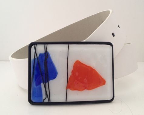 Custom Made Orange, Blue And White Confetti Fused Glass Belt Buckle