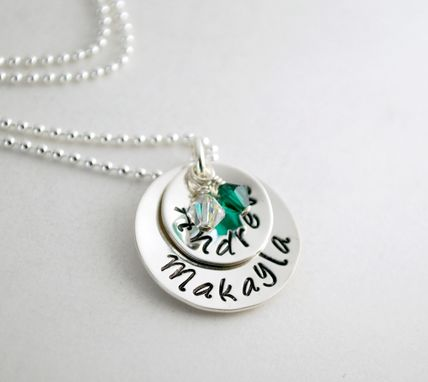 Custom Made Custom Name Necklace Stacked Pendants Hand Stamped Sterling Silver Necklace With Two Names