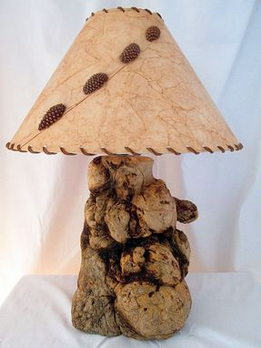 Custom Made Burled Pine Wood Rustic Wooden Lamp - Handmade Rustic Wooden Lamp