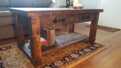Custom Made Rustic Chevron Coffee Table
