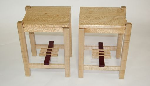 Custom Made Pagoda End Tables Curly Maple