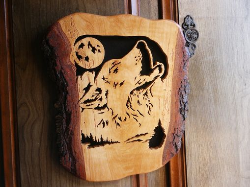 Custom Made Wolf Howling At The Moon Woodcraving On A Slab Of Walnut