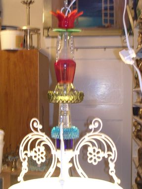 Custom Made Antique Shade All Glass Chandelier Pendant