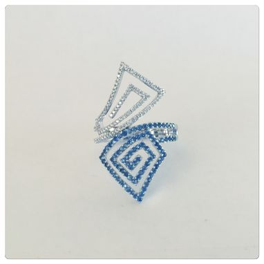Custom Made Sossi 14k Womens Contemporary Diamond Sapphire Cocktail Ring