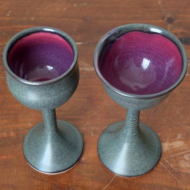 Custom Made 2 Iron Purple Wine Glasses Goblets Chalices Wheel Thrown Stoneware Ceramic Pottery By Gemfox Sra Usa