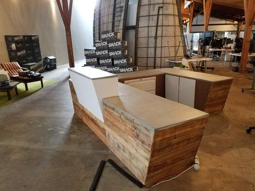 Custom Made Concrete And Reclaimed Wood Reception Desk