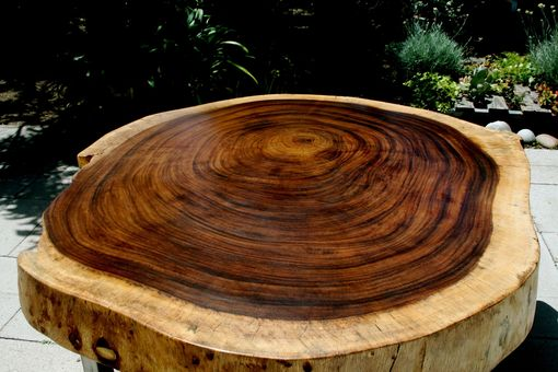 Custom Made Tropical Live Edge Round Coffee Table