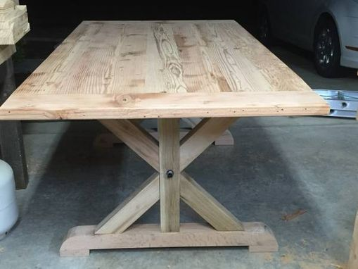 Custom Made Rustic Redwood Tretle Table
