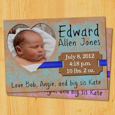 Custom Made Custom Birth Announcements - Dry Brush