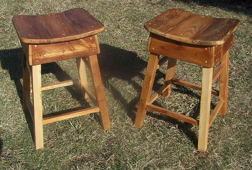 Custom Made Reclaimed Wood Primitive Style Saddle Stools Made In Reclaimed Wood