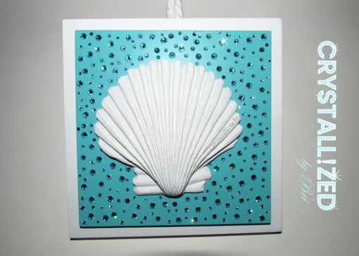 Custom Made Crystallized Beach Sea Shell Hanging Wall Plaque Made With Swarovski Crystals