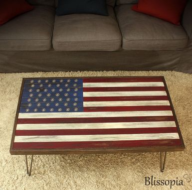 Custom Made American Flag Coffee Table