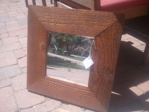 Custom Made Mirror In Medium-Stained Wood Frame