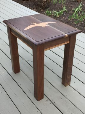 Custom Made Custom End Table- Walnut With Oak Waterfowl Inlay And Accents