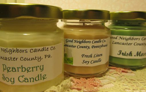 Custom Made Soy Candle, 4 Ounce Sample Pack, Fresh Scents, Pearberry, Fresh Linen And Irish Moss