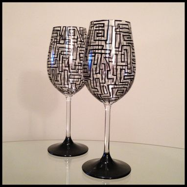 Custom Made Black Abstract Design. White Wine Glasses.