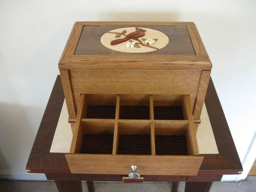 Custom Made Intarsia Cardinal Keepsake/Jewelry Box