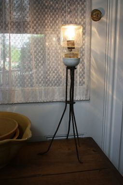Custom Made Metal Based Or Wooden Based Table Lamp With Mason Jar Shade
