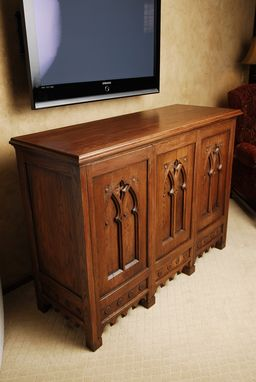 Custom Made Oak Cabinet With Antique Doors