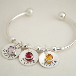 Cuff Charm Bracelet With Name Charms And Birth Month Crystals Custom Jewelry By Allison Brown