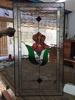 Custom Made Pretty Purple Iris Waterglass Stained Glass Window