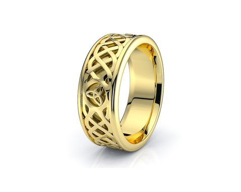 Custom Made 10k White And Yellow Gold - Platinum Trinity Celtic Wedding Band Rings